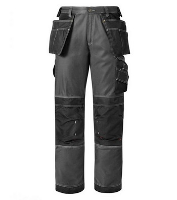 SNICKERS DURA TWILL TROUSERS & HOLSTERS BLACK / GREY 3212 7404 (35 INCH LEG)