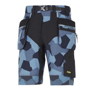 SNICKERS FLEXIWORK WORK SHORTS WITH HOLSTER POCKETS BLUE CAMOUFLAGE
