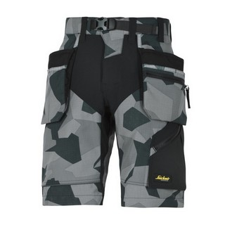 SNICKERS FLEXIWORK WORK SHORTS WITH HOLSTER POCKETS GREY CAMOUFLAGE