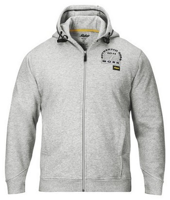 SNICKERS ZIPPED SWEATSHIRT HOODIE GREY 2809 1800 (EXTRA LARGE)