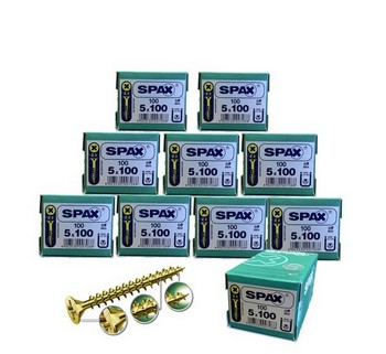 SPAX SCREWS POZI CSK 5 X 100MM BOX 100 - 10 BOXES DEAL