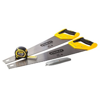 STANLEY STA998053 PACK OF 2 HEAVY DUTY HANDSAWS 20 INCH WITH TRIMMING KNIFE AND 5 MT TAPE MEASURE