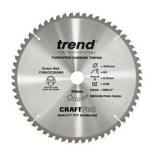 TREND CSB/CC30560T MITRE SAW CROSSCUTTING TCT CIRCULAR SAW BLADE 60TX30X305MM