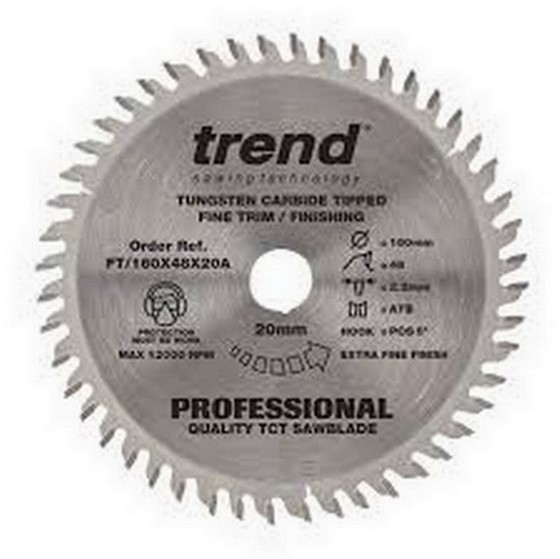 TREND FT/160X48X20A PROFESSIONAL FINE TRIM SAW BLADE 160MM X 48T X 20MM